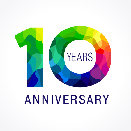 Ilustración de 10 years old celebrating colored logo. Anniversary year of 10 th vector template numbers. Happy birthday greetings celebrates. Stained-glass digits of jubilee ages. Mosaic pattern figures in various colors. - Imagen libre de derechos