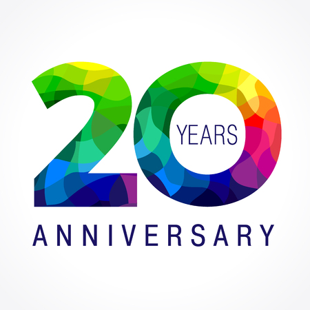 Ilustración de 20 years old celebrating colored logo. Anniversary year of 20 th vector template numbers. Happy birthday greetings celebrates. Stained-glass digits of jubilee ages. Mosaic pattern figures in various colors. - Imagen libre de derechos