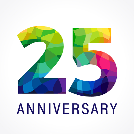 Ilustración de 25 years old celebrating. Anniversary numbers 25 th. Shining facet congrats logotype. Greetings celebrates with 3D volume. Stained glass mosaic background,% off template. - Imagen libre de derechos