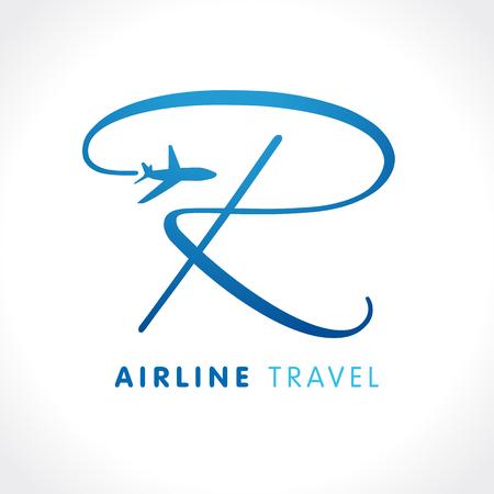Ilustración de R letter travel company logo. Airline business travel logo design with letter r. Travel vector logo template - Imagen libre de derechos