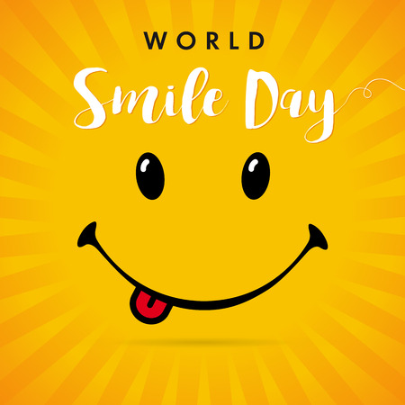 Illustration pour World Smile Day yellow stripes card. Smile with tongue and lettering World Smile Day on yellow beams background. Vector illustration - image libre de droit