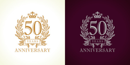 Ilustración de 50 years old luxury logotype. Congratulating 50th numbers gold colored template framed in palms. Isolated greetings celebrates. Celebrating traditional fifty in branches. Five, 5th place of win. - Imagen libre de derechos