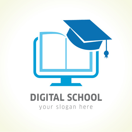 Illustration pour Digital school book online education logo. Digital school book online education logo. Digital open book with pages in monitor emblem and graduation hat. E-book or e-reader soft icon. On-line education blue vector sign - image libre de droit