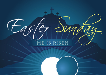 Illustration pour Easter Sunday, He is risen. Greetings, invitation card vector blue color template. - image libre de droit