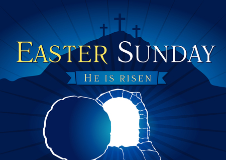 Illustration pour Easter Sunday, He is risen. Greetings, invite vector blue color template. Sunrise, open lighting empty cave, rock off, shining angel inside. Religious symbol. Jesus up from the death celebrating flyer. - image libre de droit