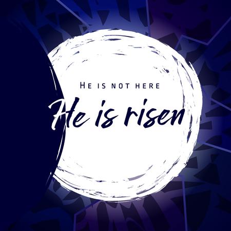 Illustration pour He is risen, He is not here. Invitation vector blue color template. - image libre de droit