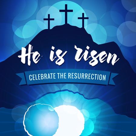 Illustration pour Hi is risen holy week easter navy blue banner. - image libre de droit