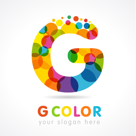 Letter G colored logotype. Isolated color emblem. Stained glass colores modern template. Clouds and bubbles with multicolored bunch. Soft shape branding sign. Creative mosaic texture, trendy label.