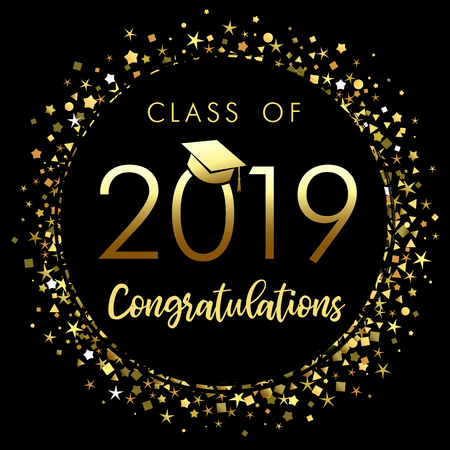 Illustration pour Class of 2019 graduation poster with gold glitter confetti. Class of 20 19 congratulations for your design cards, invitations or banner - image libre de droit