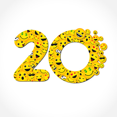 Illustration pour 20 years anniversary chat messenger . 20 th years old congrats. Isolated yellow abc letter O logotype. Abstract web graphic symbol of 20%. Vector label design template. Round shape digits, up to -20% percent off sign. Discount emblem. - image libre de droit