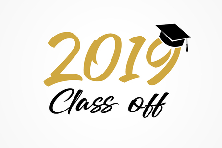 Class of 2019, modern calligraphy. Hand drawn lettering graduation . High school or college graduate, year book. Vector illustration