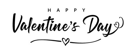 Illustration pour Lettering Happy Valentines Day banner. Valentines Day greeting card template with black typography text happy valentine`s day and heart in line on background. Vector illustration - image libre de droit