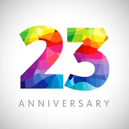 Illustration for 23 rd anniversary numbers. 23 years old logotype. Bright congrats. Isolated abstract graphic web design template. Creative 2, 3 3D digits. Up to 23% percent off discount idea. Congratulation concept. - Royalty Free Image