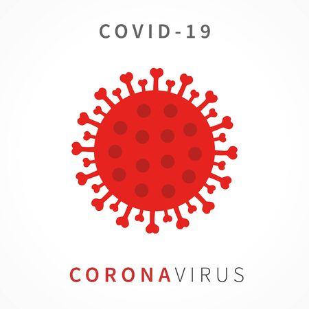 Illustration for CoronaVirus COVID 19 red icon. Novel Coronavirus. Covid-19 disease prevention with sign and text, healthcare and medicine concept. Vector illustration - Royalty Free Image