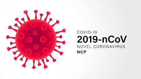 Illustration pour Novel Coronavirus (2019-nCoV). Virus Covid 19-NCP. Coronavirus nCoV denoted is single-stranded RNA virus. Outbreak Covid-19 background with viral cell red color. Vector illustration - image libre de droit