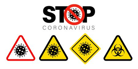 Pandemic stop Coronavirus outbreak covid-19 sign. Travel or vacantion Europe warning with 2019-nCoV symptom and danger biohazard sign. Quarantine vector icons