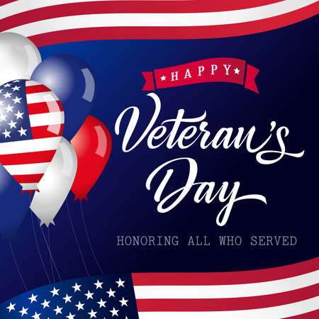 Illustration pour Happy Veterans Day USA lettering banner. Honoring all who served calligraphic card. Thank you US veterans congrats with balloons and flags. Isolated abstract graphic design template - image libre de droit