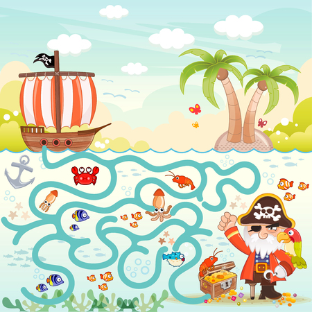 Pirates and treasure box maze game for children. Help the three pirates find the way to the treasure box. Eps file available.