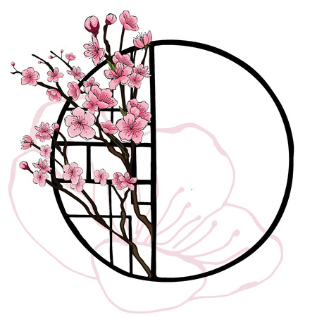 Illustration pour Spring oriental style banner with traditional Chinese window frame and pink flowers of cherry, sakura on tree branches, contours of cherry flower. Poster design, light background, place for text. - image libre de droit