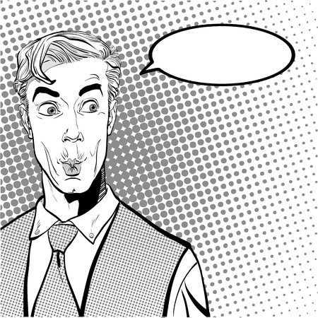 Portrait of surprised man. Surprised businessman. Surprised man. Concept idea of advertisement and promo. Pop art retro style illustration. People in retro style. Halftone background. question what.