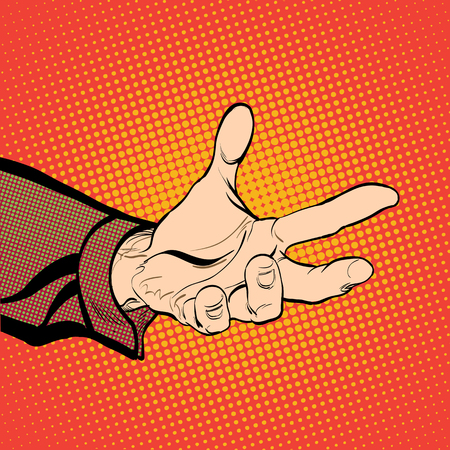 Mans hand holding out for something. Man demanding something. Man inquiring for something. Mans hand. Reaching out. Requiring something. Halftone background