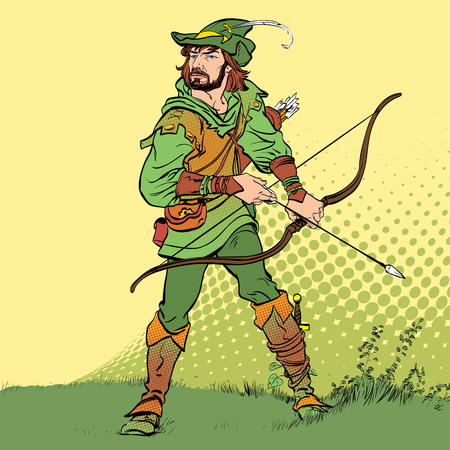 Vektor für Robin Hood standing with bow and arrows. Robin Hood in a hat with feather. Young soldier. Noble robber. Defender of weak. Medieval legends. Heroes of medieval legends. - Lizenzfreies Bild