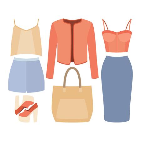 Illustration pour Set of trendy women's clothes. Outfit of woman jacket, skirt, shorts, bustiers top, blouse and accessories. Women's wardrobe. Vector illustration - image libre de droit