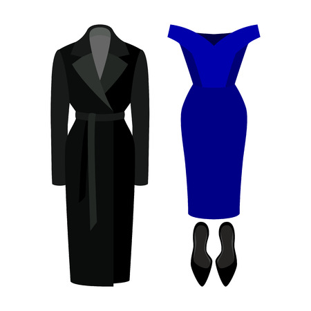 d91035229050f Set of trendy women's clothes. Outfit of woman dress, coat and accessories.  Women's