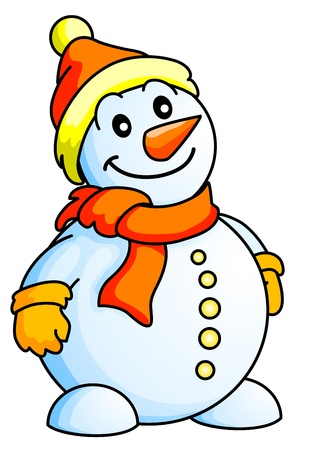 Funny Snowman, Christmas Theme, New Year Theme, Isolated  Illustration