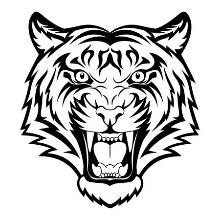 Tiger anger. Black tattoo. Vector illustration of a tiger head.
