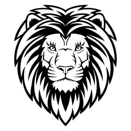 A Lion head  logo in black and white. This is vector illustration ideal for a mascot and tattoo or T-shirt graphic.