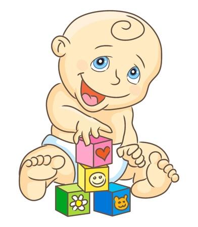 Illustration pour Kid plays blocks. Children's blocks. Baby toys. Isolated vector illustration. - image libre de droit
