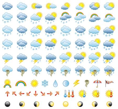 Illustration for Meteorology Icons Set. Illustration. - Royalty Free Image