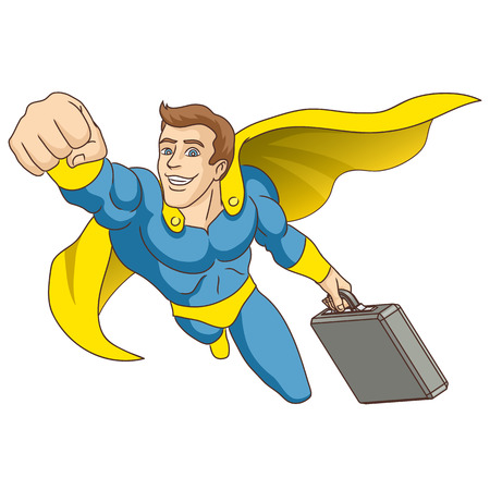 A man dressed as a super hero  , in whose hands is the briefcase, is flying ahead  Vector illustration