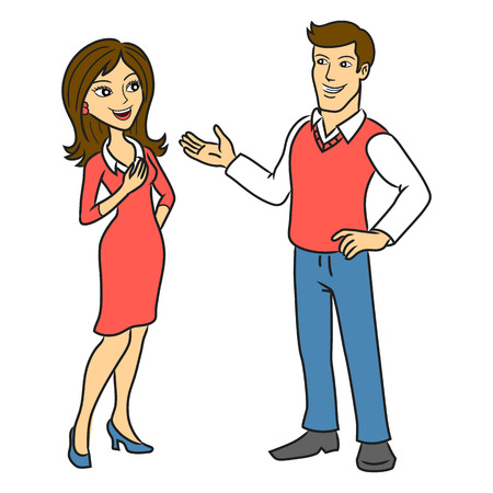 The man talking to a woman  Two people talking business  illustration