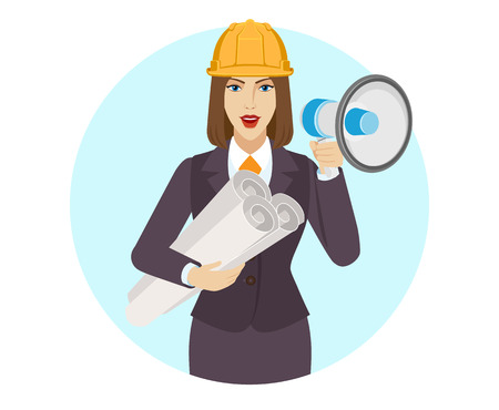 Ilustración de Businesswoman in construction helmet holding the project plans and loudspeaker. Portrait of businesswoman in a flat style. Vector illustration. - Imagen libre de derechos