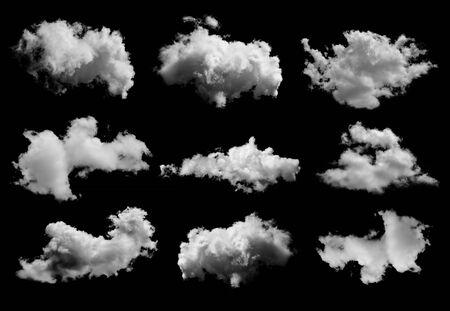 Photo pour set of Clouds on black background - image libre de droit