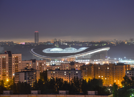 Panoramic view of Kazan Arena stadium in Kazan at night time with lights