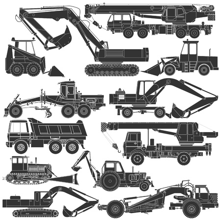 Illustration pour The image of Set of silhouettes of construction machinery - image libre de droit