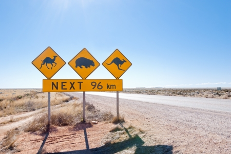 Typical Australian roadsign with Camel, Wombat and Kangaroo at Nullarbor Plain, Australia