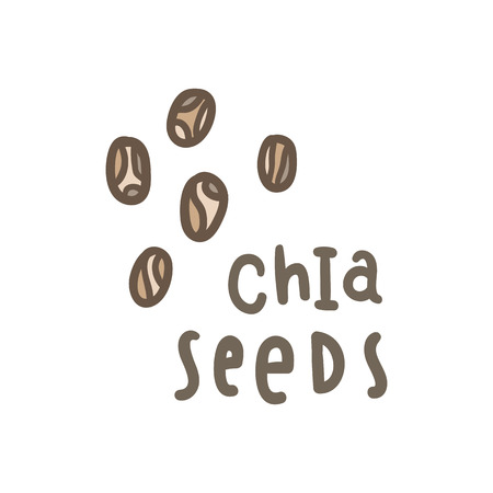 Illustration pour Chia seeds superfood. Vector hand drawn illustration - image libre de droit