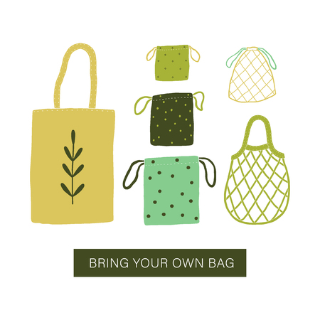 Ilustración de Bring your own bag. Zero waste bags. Vector illustration - Imagen libre de derechos