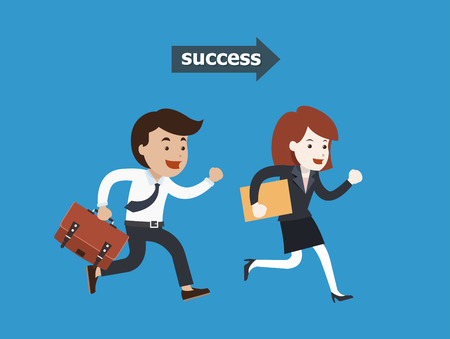 Business people running to success illustration