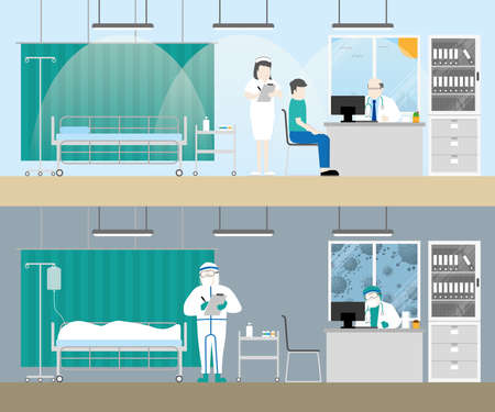 Illustration pour Hospital examination room before and after covid19 corona virus pandemic patient death in medical bed sad doctor and nurse with personal protective equipment cartoon flat style gloomy lifeless concept - image libre de droit
