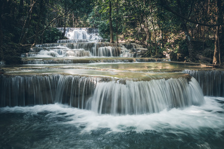 Photo for Close up of Huay Maekamin Waterfall Tier 1 (Dong Wan or Herb Jungle) in Kanchanaburi, Thailand; photo by long exposure with slow speed shutter - Royalty Free Image