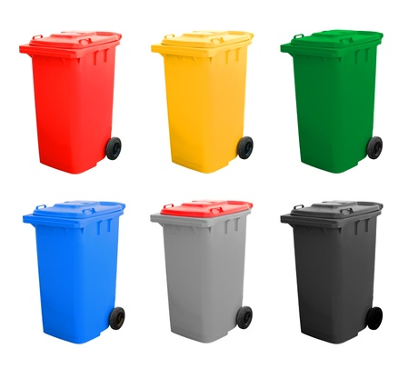 Colorful Recycle Bins Isolated Over White Background.