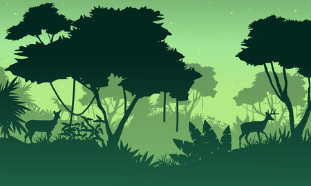Landscape of jungle with deer silhouette