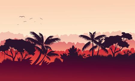 Beauty landscape jungle silhouette style