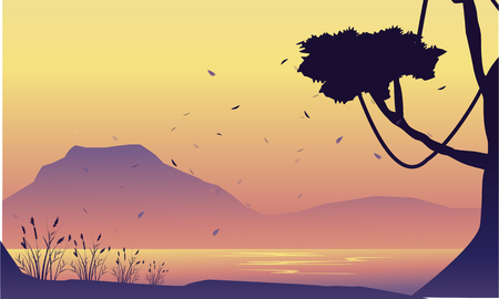 Silhouette of mountain and tree scenery vector art