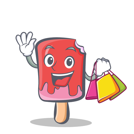 Shopping ice cream character cartoon vector artのイラスト素材